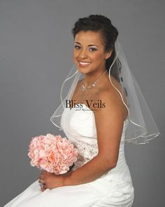 Short Bridal Veil - One Layer with Satin Trim - Available in 10 Sizes & Colors! Wedding Veils, Wedding Dresses, Wedding Attire, Wedding Hair, Wedding Stuff, Bridal Looks, Bridal Style, Veil Length, Short Veil