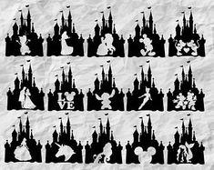 Disney svg files for shirts Etsy Disneyland Trip, Disney Trips, Disney Disney, Silhouette Cameo Projects, Silhouette Design, Silhouette Images, Disney Castle Silhouette, Disney Silhouette Printables, Silhouette Cameo Disney