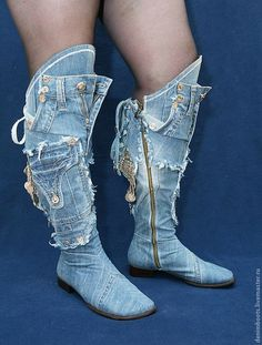 . Denim Boots, Jeans Denim, Denim Bag, Jeans And Boots, Wedge Boots, Bootie Boots, Shoe Boots, Shoe Station, Only Jeans