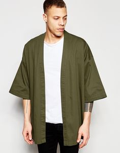Buy ASOS Kimono In Khaki at ASOS. Get the latest trends with ASOS now. Asos Kimono, Mode Kimono, Kimono Style, Men's Kimono, Kimono Outfit, Sport Fashion, Mens Fashion, Fashion 2016, Men Casual