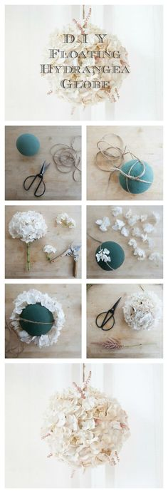 DIY Floating Hydrangea globes.  These are so pretty. Imagine these mixed in wit all the lights, Taylor!