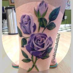 Purple rose tattoo by female tattooer Robin Cass @robinelizabethart