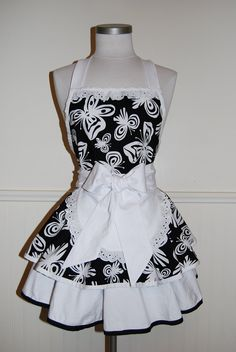 ***NEW*** Gorgeous Black and White Butterflies 2 Tier Circle Skirt French Maid Full Hostess Apron with lace details by CRACKERJACK COUNTY. $40.00, via Etsy.