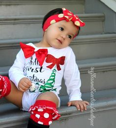 PRE ORDER - Baby Girls First Christmas Outfit - 3 piece Christmas Outfit - Girls Christmas Outfit - Christmas Romper - Baby Christmas Outfit - My First Christmas