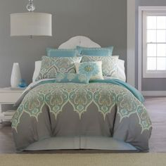 New bedding for A's room to go with smoked oyster paint and nickel color carpet. So pretty!