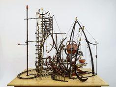 """The Invention"" Mark Bischof Kinetic Artist. Wood Sculpture, Sculptures, Rube Goldberg Machine, Kinetic Art, Kinetic Energy, Mechanical Art, Sound Art, Found Object Art, Assemblage Art"