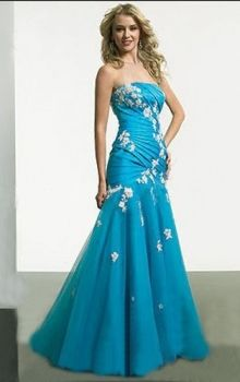 Blue Mermaid/Trumpet Strapless Dropped Long/Floor-length Sleeveless Appliques Taffeta,Tulle Zipper Up Prom Dresses Dress