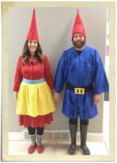 Garden gnomes! Bring some joy to someone's garden (party).  Needed: Red dress, blue shirt or robe, apron, boots, red hats and don't forget the beard!#halloween #couplescostumes