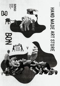 Jeux de formes et de typographies pour un message puissant en bichromie.