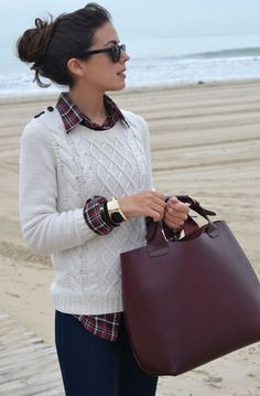 Plaid Shirt Under Knitted Sweater