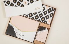 PERSONALIZED STATIONERY BOX Set Peach Black & Gold Ikat Print - Indian Wedding Favor Gift