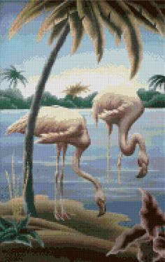 1950s Flamingos by Turner Mid Century Cross Stitch pattern PDF - Instant Download!