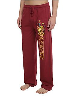 <p>Comfy burgundy guys pajama pants from <i>Harry Potter</i> with a Gryffindor crest design on the left leg and an elastic drawstring waist with single button fly.</p>  <ul> 	<li>60% cotton; 40% polyester</li> 	<li>Wash cold; dry low</li> 	<li>Imported</li> 	<li>Listed in men's sizes</li> </ul>