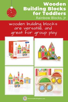 Discovery Building Sets offers wooden building blocks for toddlers, Jr. Rainbow blocks. These scaled-down and sturdy wooden building blocks are perfect for group play. Block play using wooden blocks for toddlers supports your child's imagination and creativity. Grab a set of stacking blocks for your next play date and watch the kids share ideas. #DiscoveryBuildingSets #woodenbuildingblocks #woodenbuildingtoys #blockplay #openendedplay Wooden Building Blocks, Wooden Blocks, Building Toys, Blocks For Toddlers, Rainbow Blocks, Block Play, Stacking Blocks, Wooden Buildings, Interactive Toys