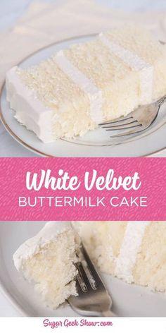 This white velvet buttermilk cake recipe is my FAVORITE cake recipe out of all o., This white velvet buttermilk cake recipe is my FAVORITE cake recipe out of all of them. Yes even better than my famous vanilla cake recipe! The textur. White Velvet Cakes, Red Velvet, Best Cake Recipes, White Cake Recipes, Cake Recipes From Scratch, Vanilla Cake Recipes, Vanilla Desserts, Frosting Recipes, Cake For Two Recipe
