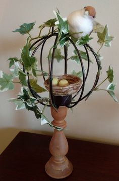 Elegant but inexpensive DIY Easter decor from thrift shop finds! - Susan Said. Tiny Flowers, Flower Pots, Decor Crafts, Diy Crafts, Thrift Shop Finds, Diy Easter Decorations, Pink Depression Glass, Topiary, Candlesticks