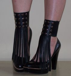 SPATS Black Leather Fringed Cuff Mini Spats with Studs - RECYCLED Shoe Accessories