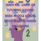 $6 Middle School Math AIS/RTI/Review/Summer Camp -  series of lessons that will span about 3 weeks of classes.  includes a Bingo game, Jeopardy, a final room design project, and several other smaller, fun, relevant activities.  - graphing, signed numbers, calculating percents, fractions, averages and statistics, solving equations, word problems, ratios and proportions, area and perimeter.