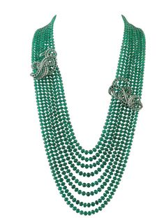 Van Cleef & Arpels Necklace Maelstrom white gold diamonds sapphires and emeralds.