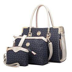 EvalentWomen's Elegant 3Pcs Tote Bag Pu Leather Purse Handbag Set (Navy) - http://leather-handbags-shop.com/evalentwomens-elegant-3pcs-tote-bag-pu-leather-purse-handbag-set-navy/