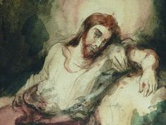"DELACROIX Eugène,1826 - Le Christ au Jardin des Oliviers, Eglise St-Paul-St-Louis, Paris, Etude (drawing, dessin, disegno-Louvre RF23325) - Detail 40  -  TAGS/ art painters peintres details détail détails painting paintings peintures ""peintures 19e"" ""19th-century painting"" France ""Christ in the Garden of Gethsemane"" woman women femme man men homme romantisme romanticism nu nude naked nudity nudité anges angel armes weapons soldats soldiers nuit night Aquarelle watercolour watercolor"