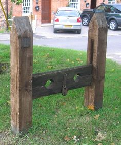 Stocks, Keevil, Wiltshire. Used in the medieval times as a form of physical punishment involving public humiliation.