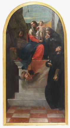 ZUGNO FRANCESCO (1709 - 1787) Madonna Enthroned with St. Cajetan, Antonio and Francesco. Oil on canvas dates it to circa 1745. 89,50 x 176,00 cm