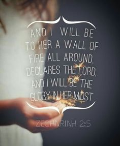And I will be to her a wall of fire all around declares the Lord and I will be the Glory in her midst. Zechariah 2:5 Praise God, Savior, Worship, Bible Verses, Tatoo, Prayers, Salvador, Scripture Verses, Prayer