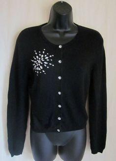 MODA INTERNATIONAL Black Rhinestone SILK CASHMERE Cardigan Sweater M Medium #ModaInternational #Cardigan