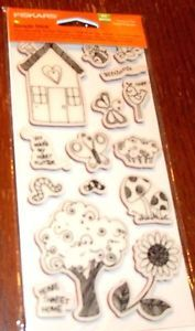RUBBER CLING FISKARS STAMPS OUTDOOR FUN ~