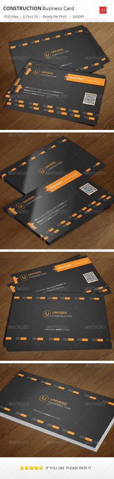 Buy Construction Business Card by psdriver on GraphicRiver. This Business Card Template is Suitable for any Construction Business or Personal name card use. Info: 300 DPI High R. Construction Business Cards, Construction Contract, Construction Wallpaper, Black Building, Modern Names, Cleaning Business Cards, Cleaning Companies, Letter Templates, Professional Business Cards