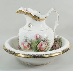 Cream Roses Pitcher & Bowl: A necessity in Victorian homes for daily bathing now serves as a pretty decorative.