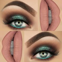 Green isnt used nearly enough in day to day make up. I love this color and it is great for brown eyes too! Green isnt used nearly enough in day to day make up. I love this color and it is great for brown eyes too! Teal Eye Makeup, Love Makeup, Skin Makeup, Makeup Inspo, Eyeshadow Makeup, Makeup Inspiration, Eyeshadows, Makeup Ideas, Metallic Eyeshadow