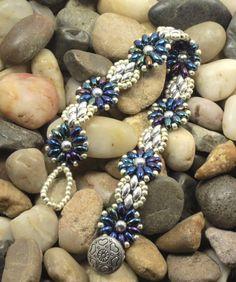 SUPERDUO FLOWER BRACELET-Blue Iris and by CinfulBeadCreations