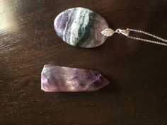 fluorite pendant with fluorite point by wellbeingbliss on Etsy