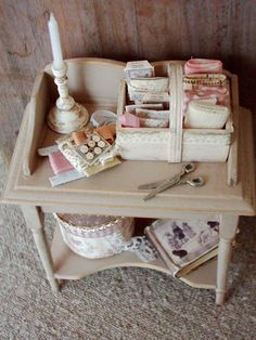 Handcrafted Wood Pedestal Sewing Stand Filled w Notions 1:12 Dollhouse Miniature