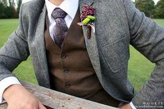Dark chocolate brown vest, dark grey jacket, necktie
