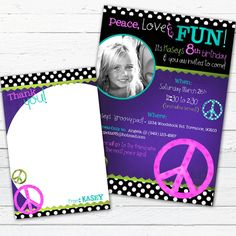 Peace Sign Birthday Invitation Photo Card and Coordinating Thank You Note--Peace Love and Fun on Etsy, $18.00