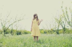 A perfect sunshine yellow for a dress! A tad bit longer would totally be my style.