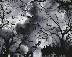 Grasso trimestre malvagi cimitero alle oscurità Halloween 100% cotone tessuto C3761 di Quilting