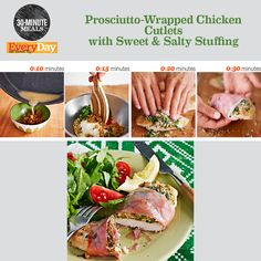 Rachael Ray's 30-Minute Meal: Prosciutto-Wrapped Chicken Cutlets with Sweet & Salty Stuffing