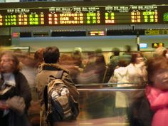 rush hour at the kyoto central station in japan.
