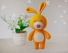 fukuroucrafts: Pattern Crochet Cute Rabbit Doll, แพทเทิร์น ตุ๊กตา ถัก โครเชต์ กระต่าย น่ารัก