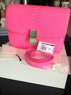 celine leather handbag - C��line Classic Box neon pink python bag | Image Inspiration ...