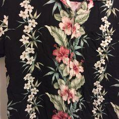 Vintage-Iolani-Hawaiian-Aloha-Shirt-Size-L-Black-Floral