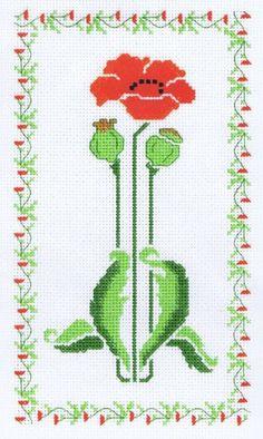 Cross Stitch Poppy -- love the border too