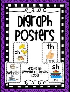 These are a set of 2 different digraph posters that you can display in your room. One set has the sound and three different pictures that have that sound. The other set just displays the sound and only one picture. In this set I have included ch, sh, th, wh and ph only.