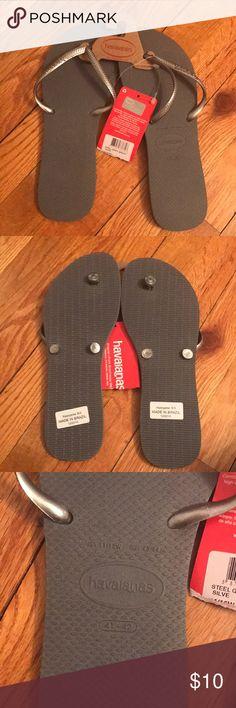 Havaianas flip flops Grey Havaiana flip flops. Never worn. Size 11/12 Havaianas Shoes Sandals