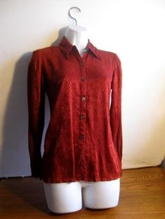 Vintage Rust Blouse by Sibley -Coffee LTD size 8