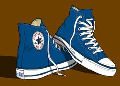 67 New Ideas For Sneakers Illustration Converse All Star Converse Bleu, Converse All Star, Star Illustration, Illustrations, Zapatillas All Star, Neko Girl, Baskets Converse, Shoes Wallpaper, Sneaker Art